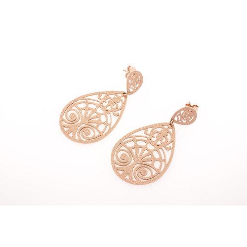 Edelstaal oorbellen verguld met rosé goud KAIA
