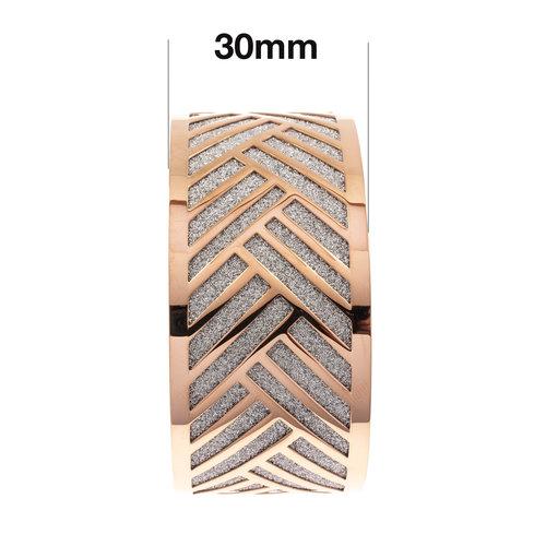 Edelstaal vaste armband met glitter en verguld met rosé goud TATUM
