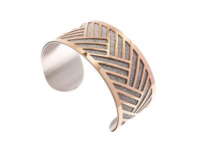 Bracelet rigide acier avec granité et placage or rosé TATUM