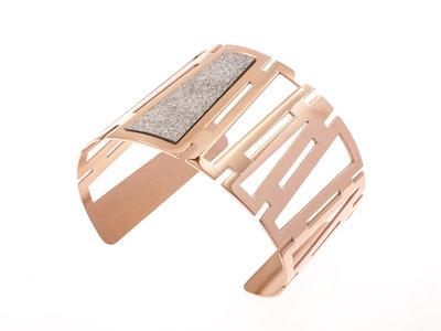 Edelstaal vaste armband met glitter en verguld met rosé goud FAITH
