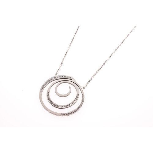 Pendentif acier avec des cristaux et avec chaine EDEN