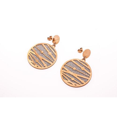 Boucles d'oreilles acier avec granité et placage or rosé ROBYN