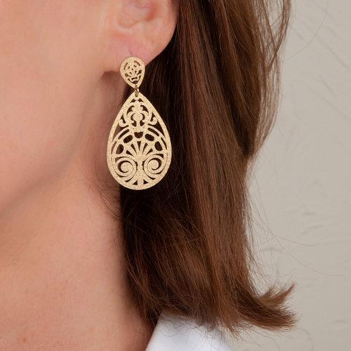 Boucles d'oreilles acier avec placage or jaune NINA