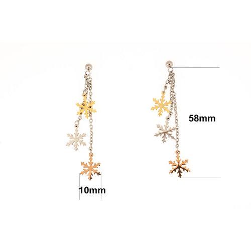 Boucles d'oreilles acier avec en partie des  placages or jaune et rosé BILLY