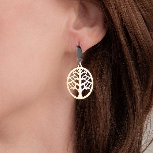 Boucles d'oreilles acier avec placage bicolore JUNE