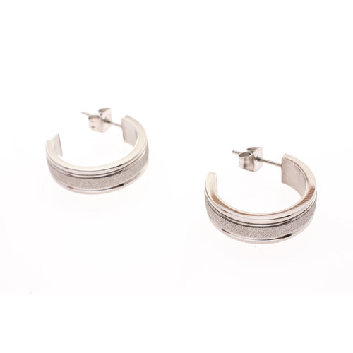 Boucles d'oreilles acier avec granité JODY
