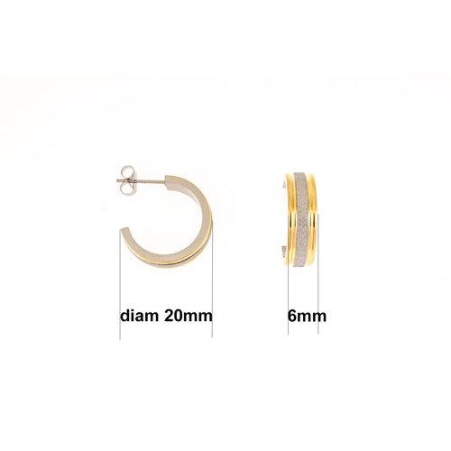 Boucles d'oreilles acier bicolores avec granité DIVA