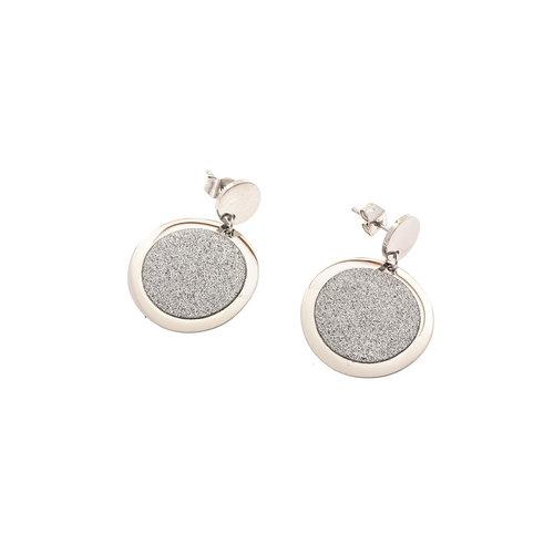 Boucles d'oreilles acier avec granité ANGELINA