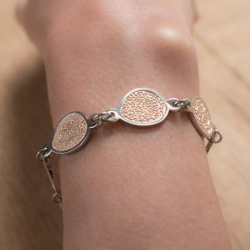 Bracelet acier avec des parties en placage or rosé CHRISTINE
