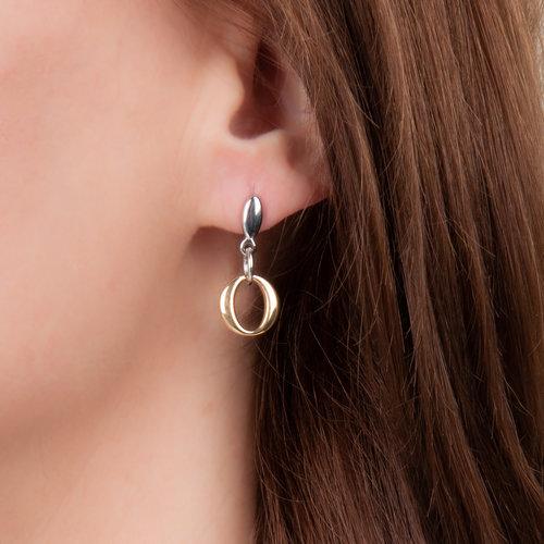 Boucles d'oreilles acier placage bicolore or jaune CAROLINA
