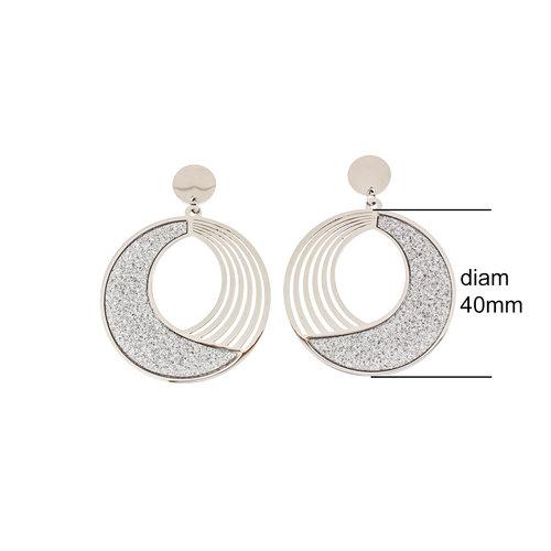 Boucles d'oreilles acier avec granité JACKIE
