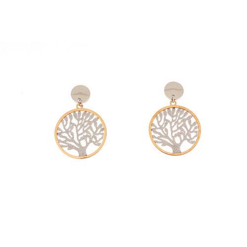 Boucles d'oreilles acier avec placage partiel avec de l'or rosé ELBA