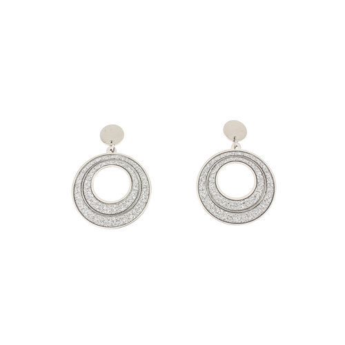 Boucles d'oreilles acier avec granité JANE