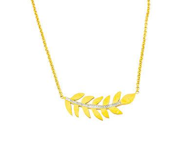 Edelstaal hanger met kristallen en ketting verguld met geel goud HANNE
