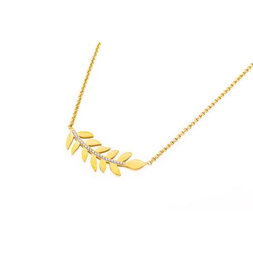 Pendentif acier avec des cristaux et chaine placage or jaune HANNE