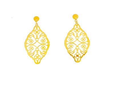 Edelstaal oorbellen verguld met geel goud MILA