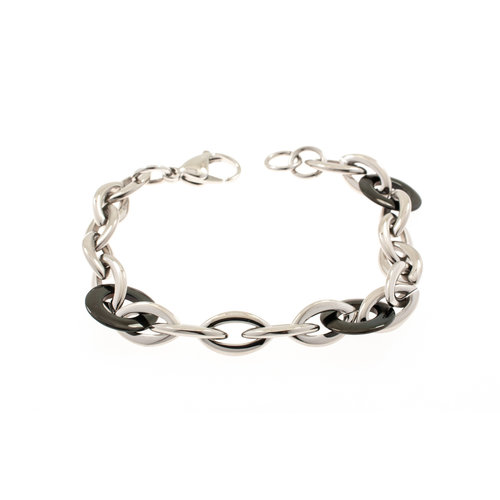 Edelstaal armband met zwarte elementen YSABEL