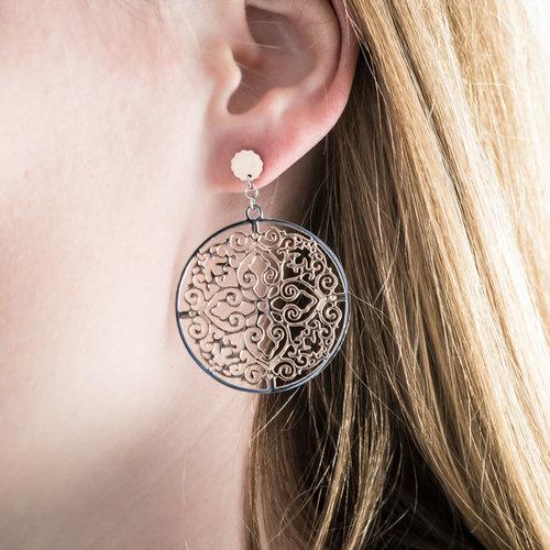 Edelstaal oorbellen deels rosé verguld model VERA