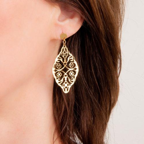 Boucles d'oreilles acier avec placage or jaune MILA