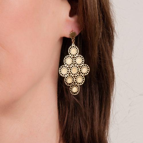 Boucles d'oreilles acier avec placage or jaune ELSA