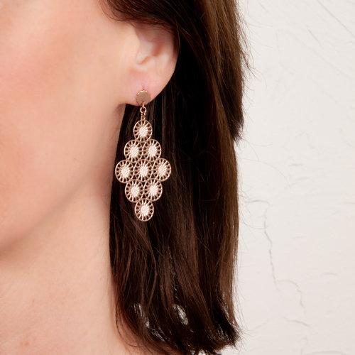 Boucles d'oreilles acier avec placage or rosé LOU