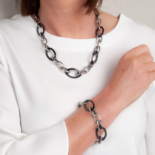 Edelstaal armband met zwarte keramiek model ALEXANDRA