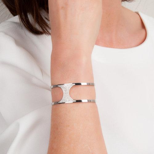 Bracelet rigide acier avec granité ANNA