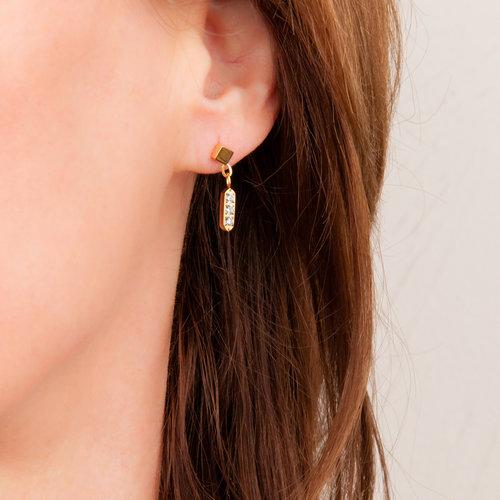 Edelstaal oorbellen met kristallen en verguld met geel goud MARGARET
