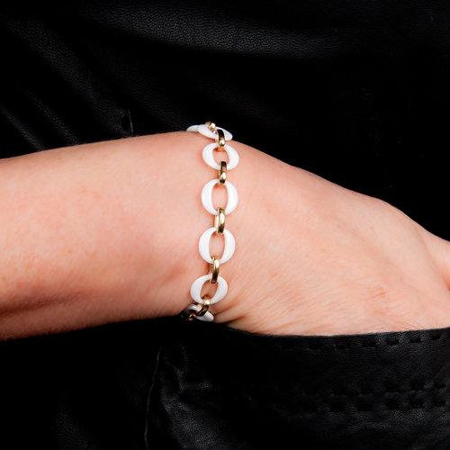 Edelstaal armband verguld met geel goud en met witte keramiek ELISE