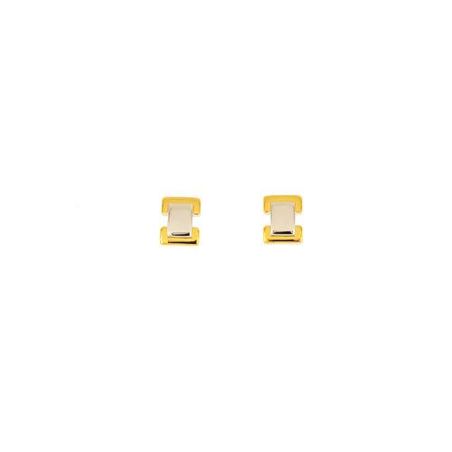 Petites boucles d'oreilles en plaqué bicolore EMMA
