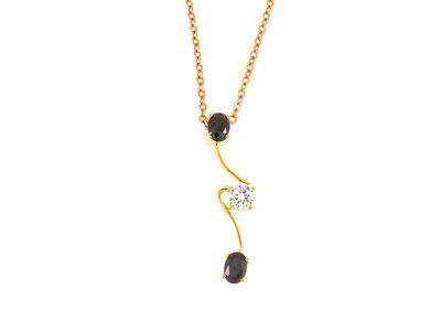 Pendentif plaqué or avec pierres noires et blanche avec chaine CORA