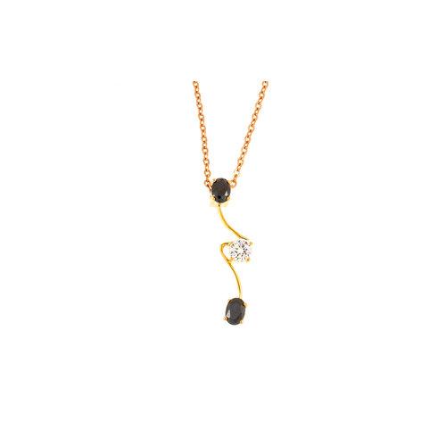Plaqué hanger met zwarte en witte steentjes met ketting CORA