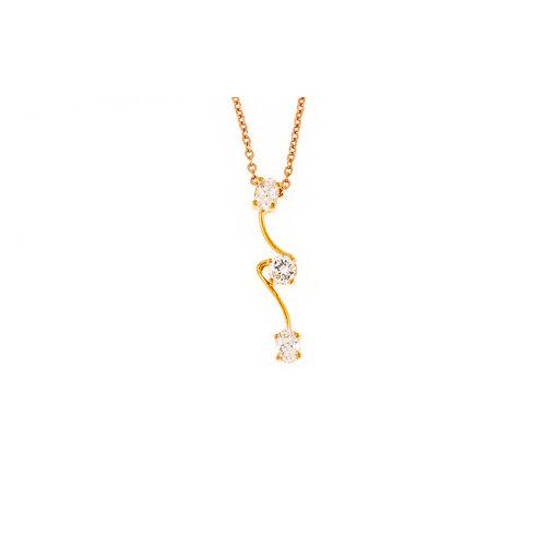 Pendentif plaqué or avec 3 zirconiums et chaine GIANNA