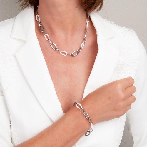 Bracelet acier et céramique blanche CECILIA
