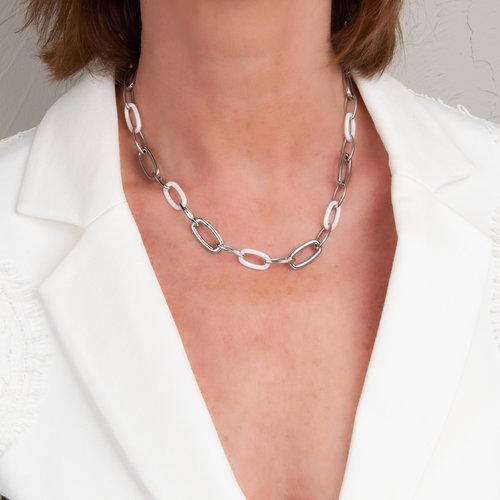 Edelstaal collier met witte keramiek CECILIA