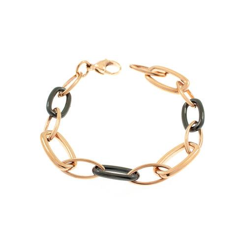 Edelstaal armband verguld met rosé goud en met zwarte keramiek CARLY
