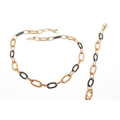 Edelstaal collier verguld met rosé goud en met zwarte keramiek CARLY