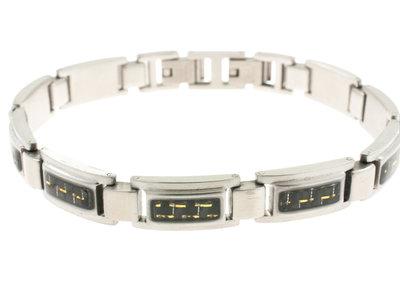Edelstaal armband met carbon voor heren JUSTIN