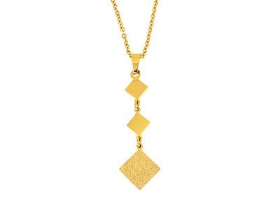 Edelstaal hanger met ketting verguld met geel goud WILLOW