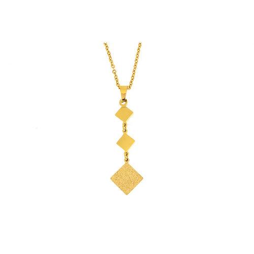 Pendentif avec chaine acier avec placage or jaune WILLOW