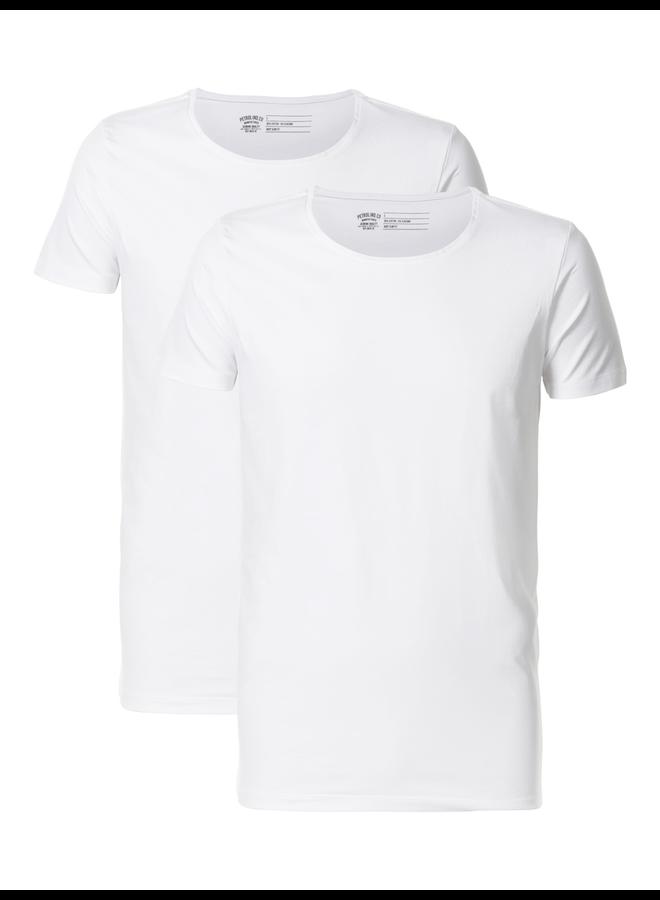 Petrol 2 pack Basic t-Shirt ronde hals Lycra - Wit