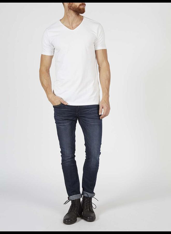 2 pack Basic T-shirt V-hals Lycra - Wit