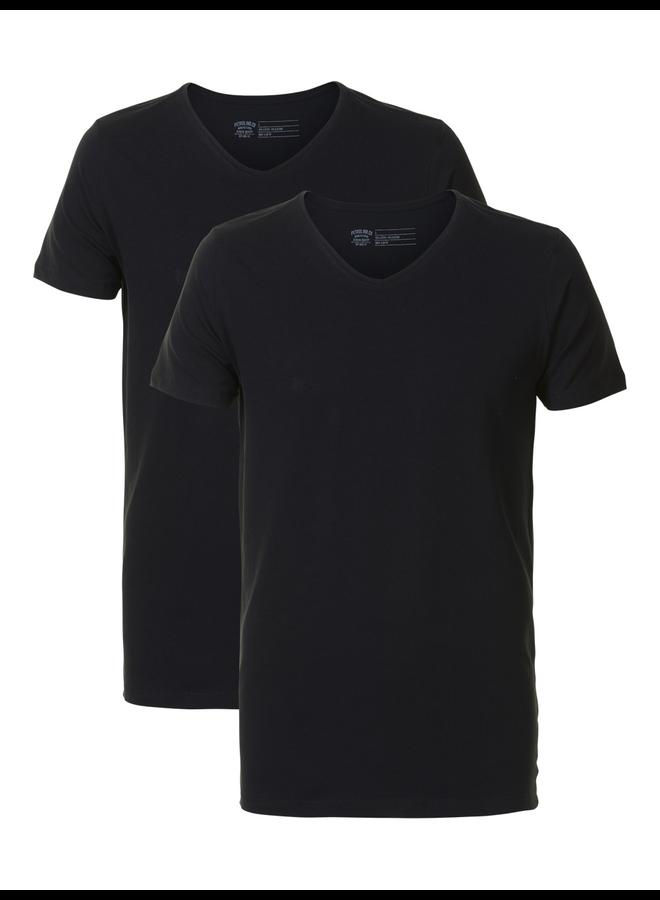 Petrol 2-pack basic T-Shirt V-hals - 9999 Black