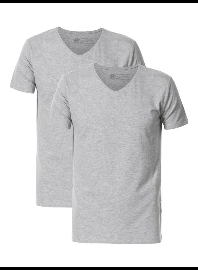 Petrol 2-pack T-Shirt V-hals - 9038 Light Grey Melee