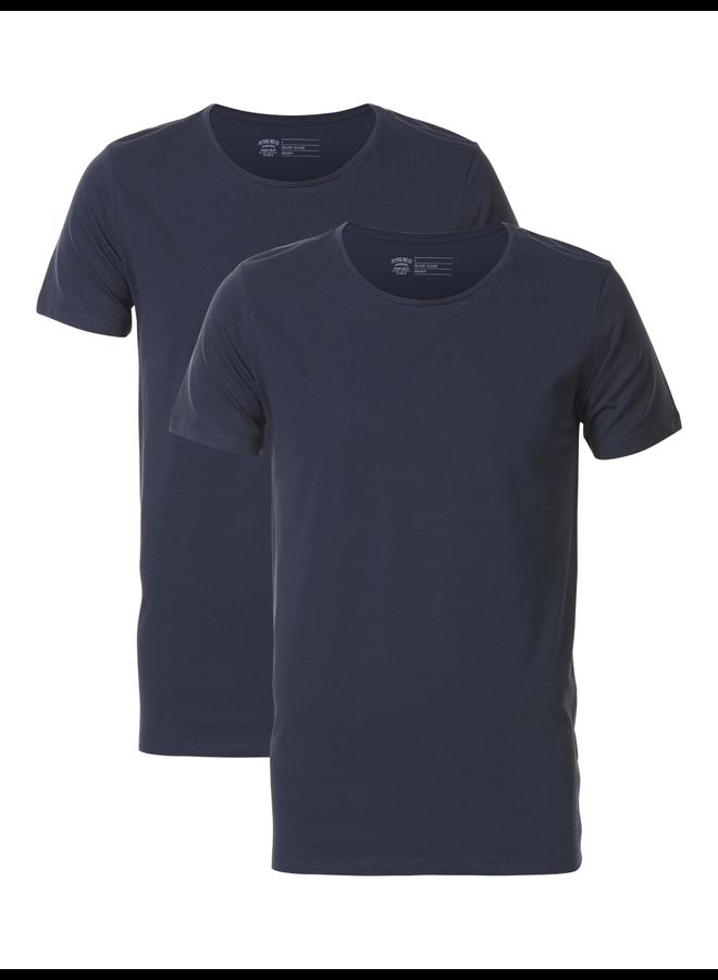 Petrol 2-pack basic T-Shirt ronde hals - 5091 Deep Navy