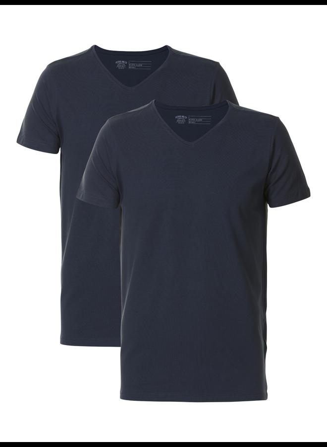 Petrol 2-pack basic T-Shirt V-hals - 5091 Deep Navy