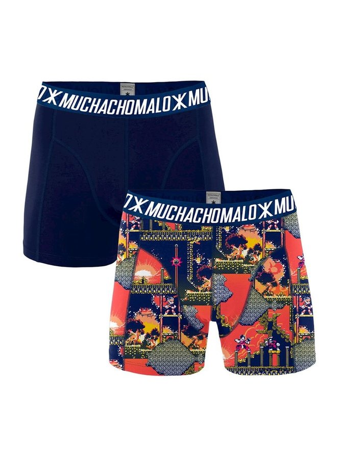 Muchachomalo Boxershort Snin1010-01 Men 2-Pack - Print/Blue