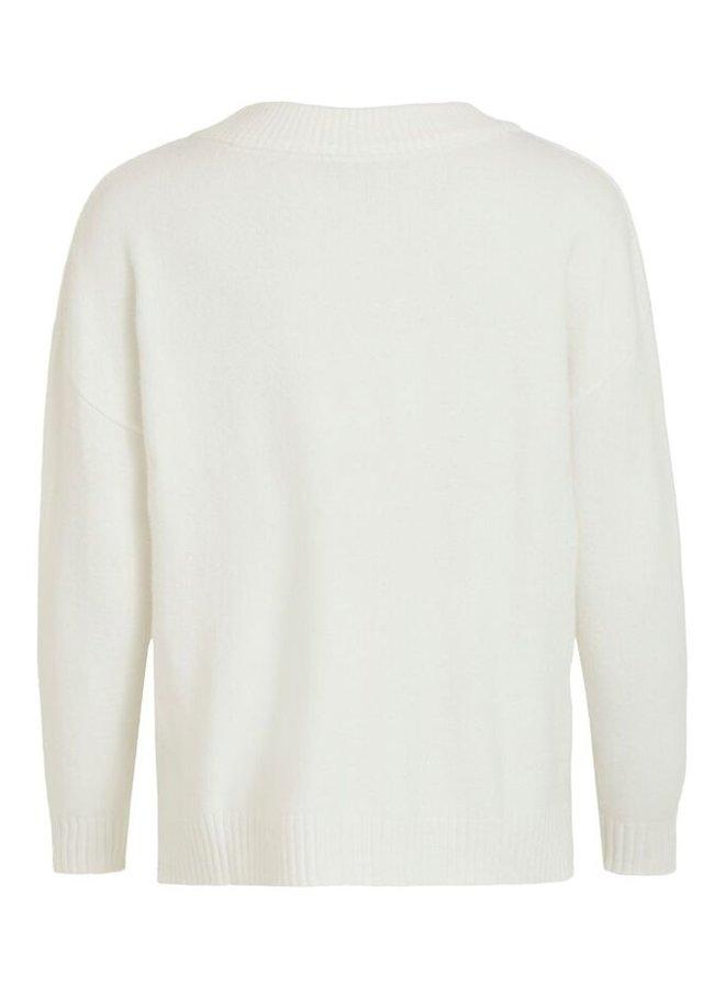Vila Trui 14061614 Viril Short Ls Knit - White Alys