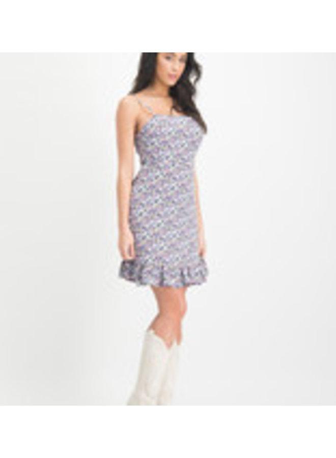 Lofty Manner Jurk MN24 Dress Venna - Purple - Light Blue