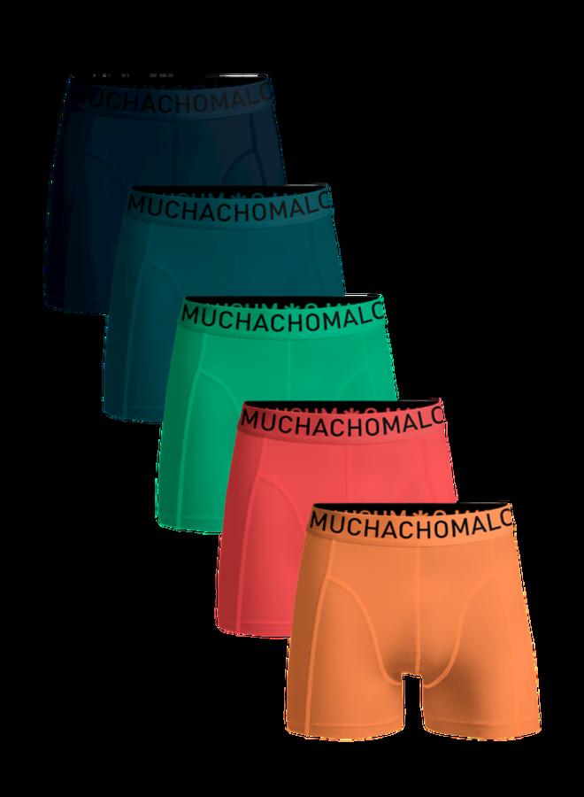 Muchachomalo Boxershort LCSOLID1010-33 - Petrol/Darkgreen/Green/Coral/Lightcoral